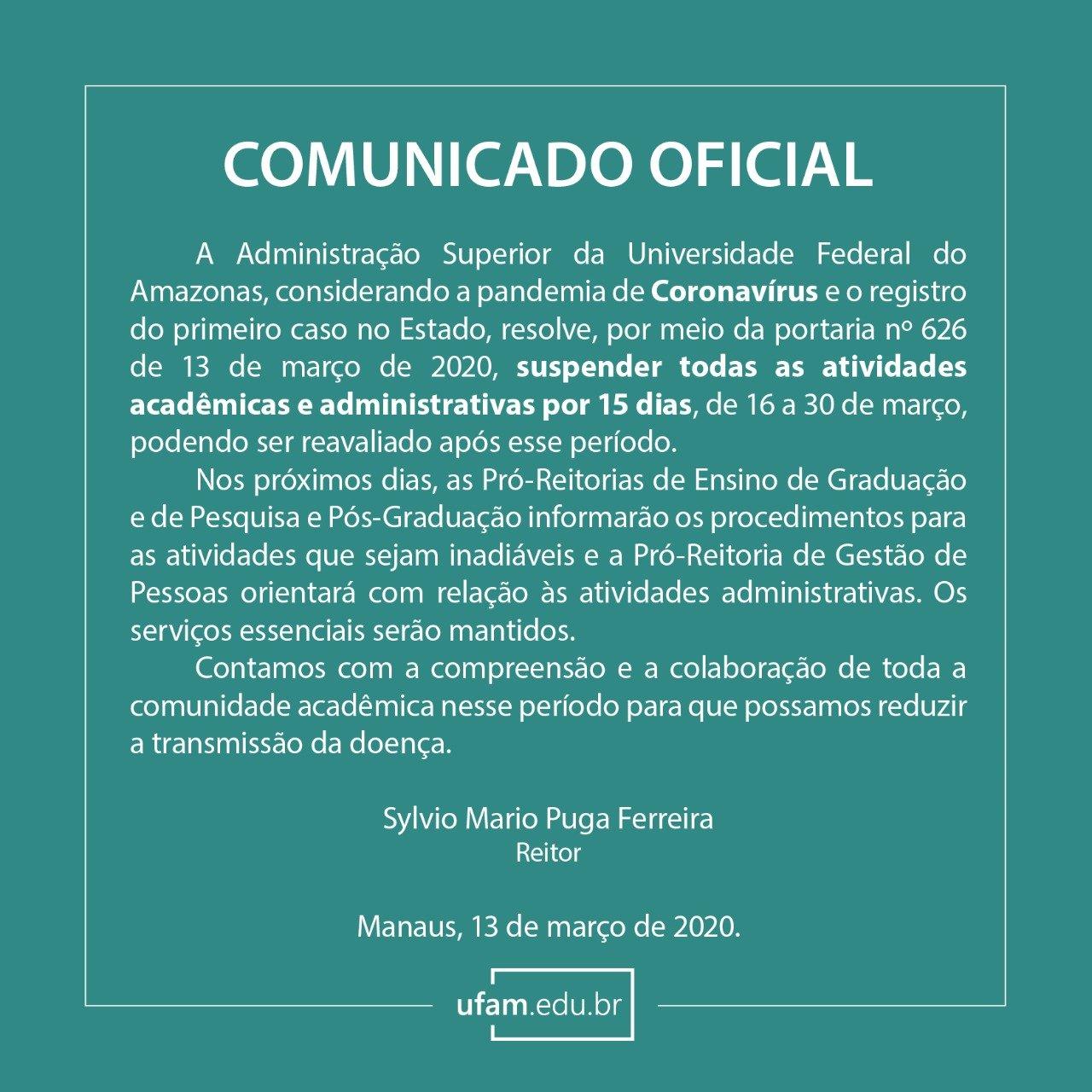 UFAM suspende atividades Acadêmicas e Administrativas presenciais de 16/03 a 30/03.
